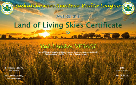 Land of Living Skies Certificate